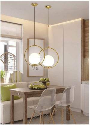 Metal & Glass Pendant Lights- Gold