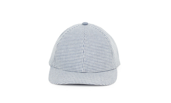Gingham Ball Cap, Blue Slate