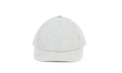 Gingham Ball Cap, Light Grey