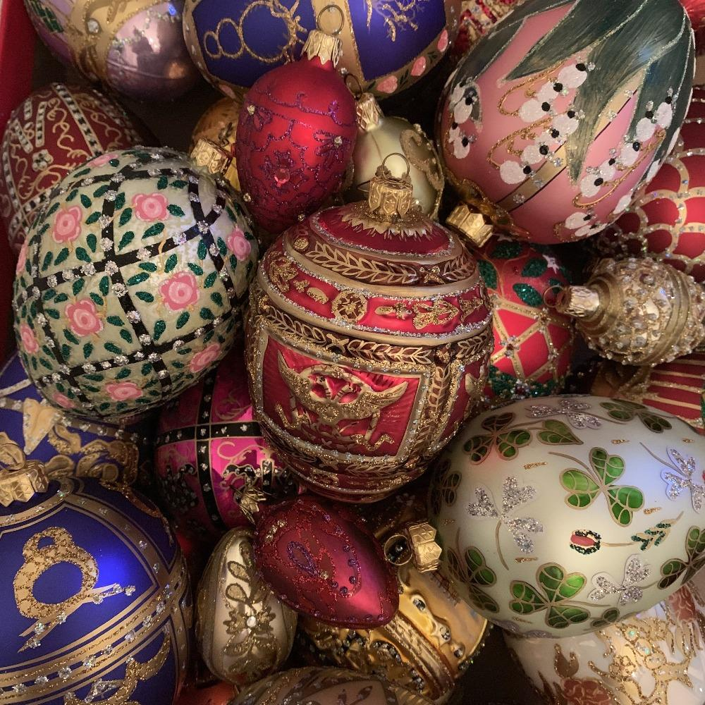 Faberge Glass Egg Ornaments