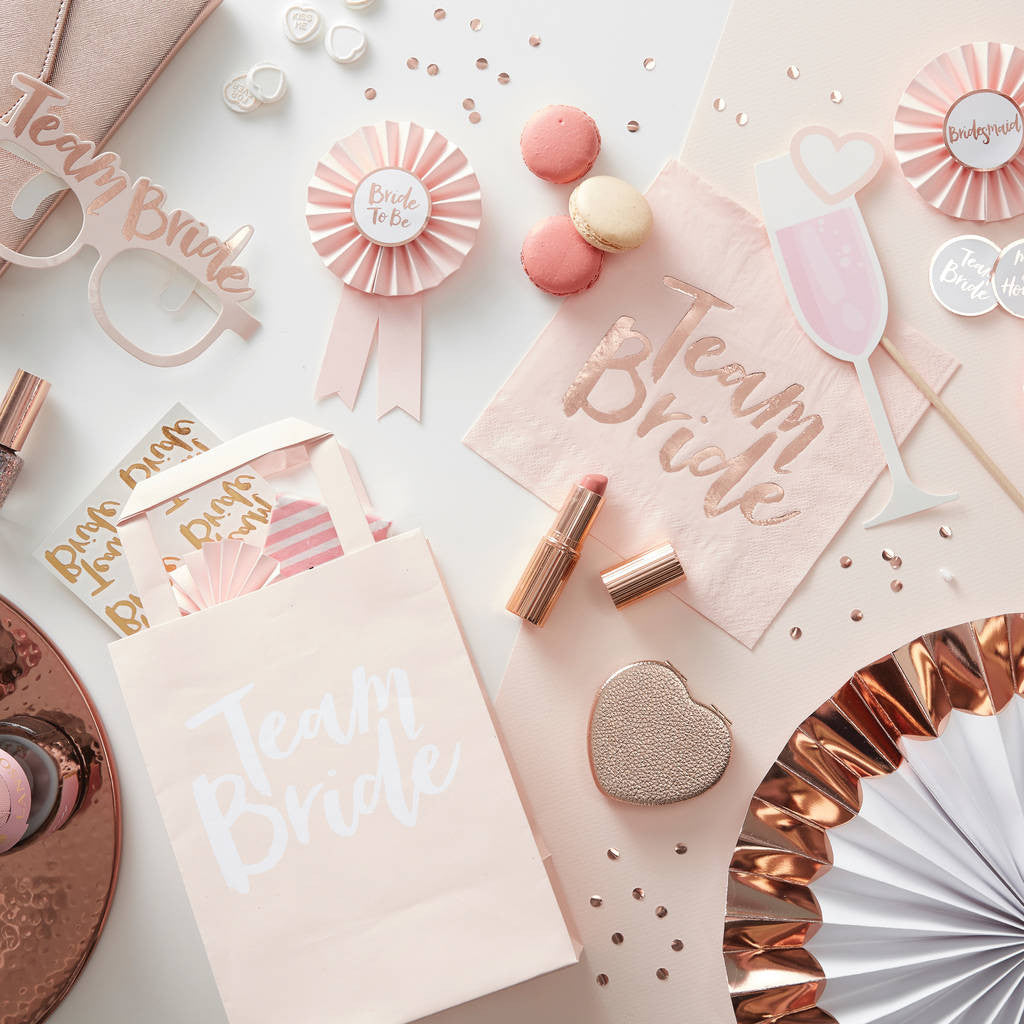 """Team Bride"" Rose Gold Bridal Shower"