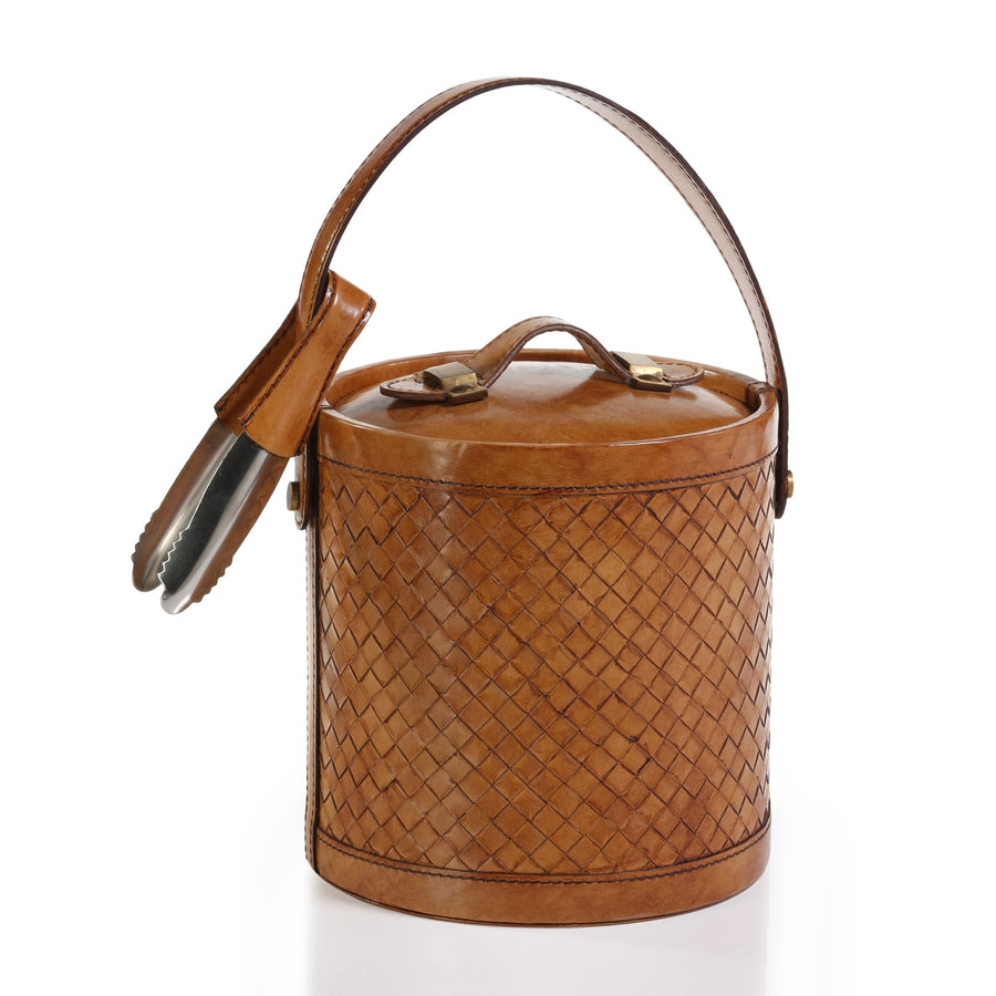 Barclay Butera Weave Leather Ice Bucket