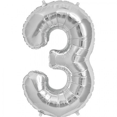 Silver Foil Number Balloon - Three -  Party Supplies - Surprize Enterprize - Putti Fine Furnishings Toronto Canada