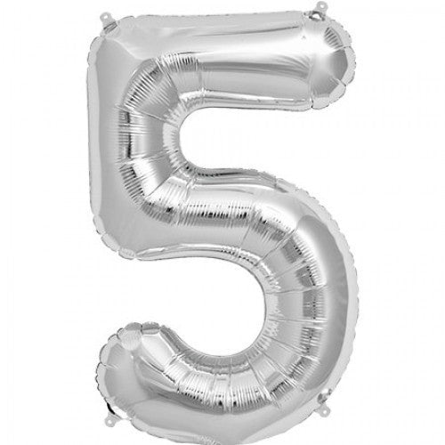 Silver Foil Number Balloon - Five, SE-Surprize Enterprize, Putti Fine Furnishings