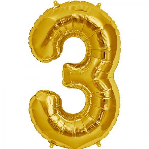 Gold Foil Number Balloon - Three, SE-Surprize Enterprize, Putti Fine Furnishings