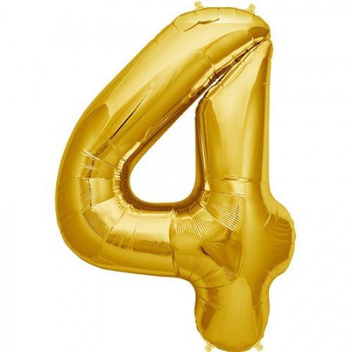 Gold Foil Number Balloon - Four, SE-Surprize Enterprize, Putti Fine Furnishings