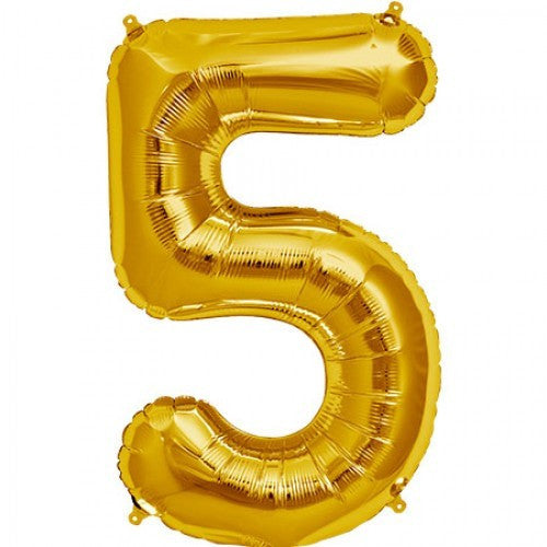 Gold Foil Number Balloon - Five, SE-Surprize Enterprize, Putti Fine Furnishings