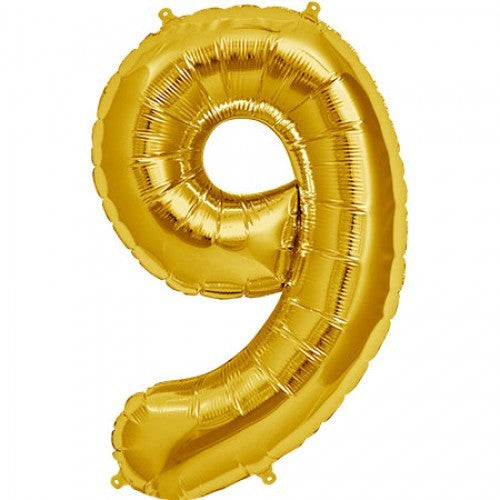 Gold Foil Number Balloon - Nine, SE-Surprize Enterprize, Putti Fine Furnishings
