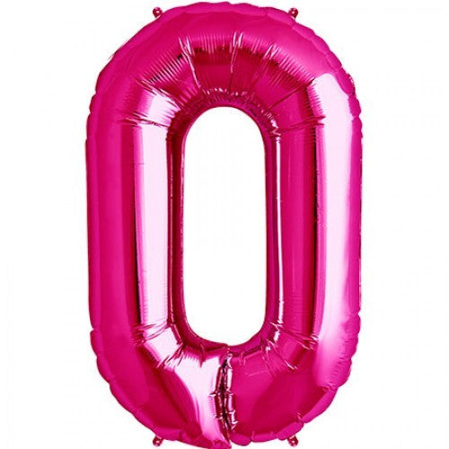Magenta Pink Foil Number Balloon - Zero, SE-Surprize Enterprize, Putti Fine Furnishings