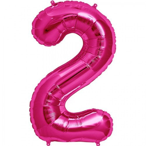 Magenta Pink Foil Number Balloon - Two