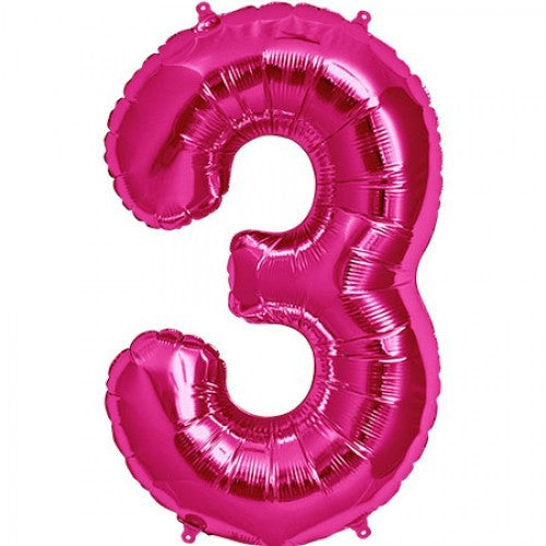 Magenta Pink Foil Number Balloon - Three