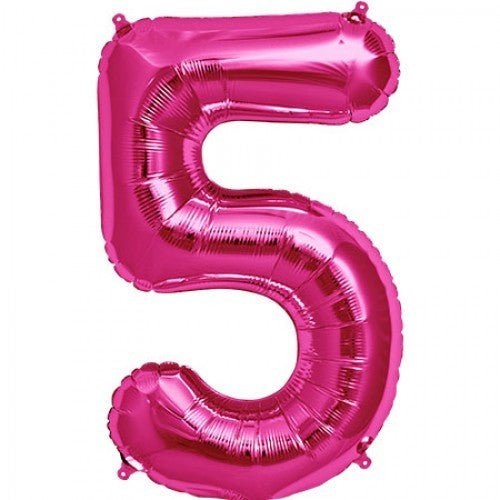 Magenta Pink Foil Number Balloon - Five