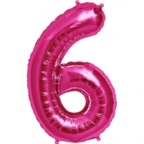 Magenta Pink Foil Number Balloon - Six