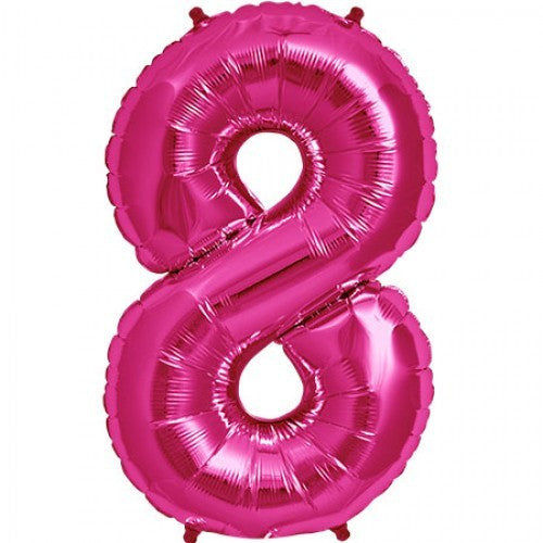 Magenta Pink Foil Number Balloon - Eight