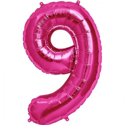 Magenta Pink Foil Number Balloon - Nine