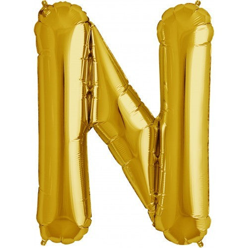 "Gold Foil Letter Balloon 34"" - N"