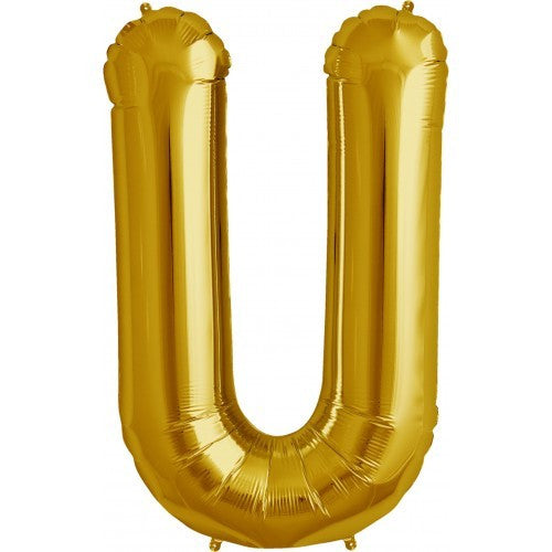 "Gold Foil Letter Balloon 34"" - U"