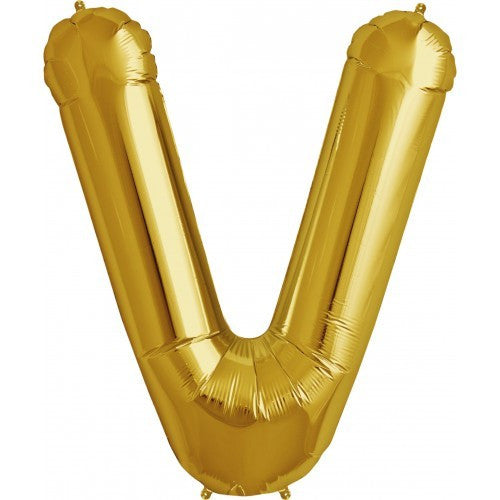 "Gold Foil Letter Balloon 34"" - V"