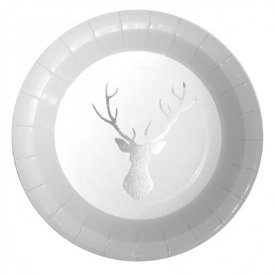 Silver Foiled Stag Paper Plates -  Party Supplies - Ginger Ray UK - Putti Fine Furnishings Toronto Canada - 1