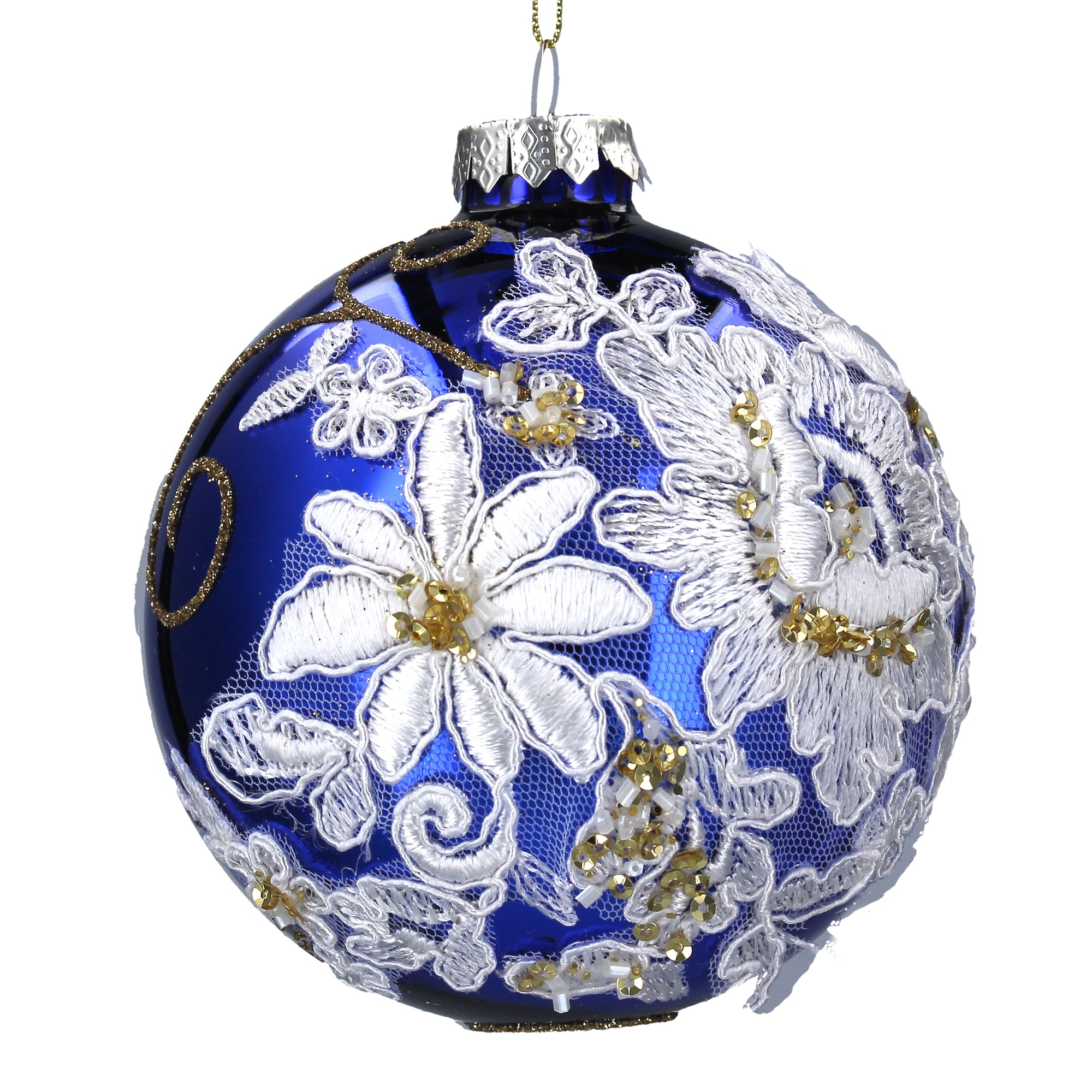 Blue Glass Ball Ornament with White Lace Flowers | Putti Celebrations