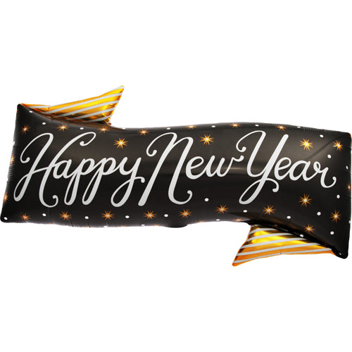 "Black & Gold ""Happy New Year"" Banner Balloon"