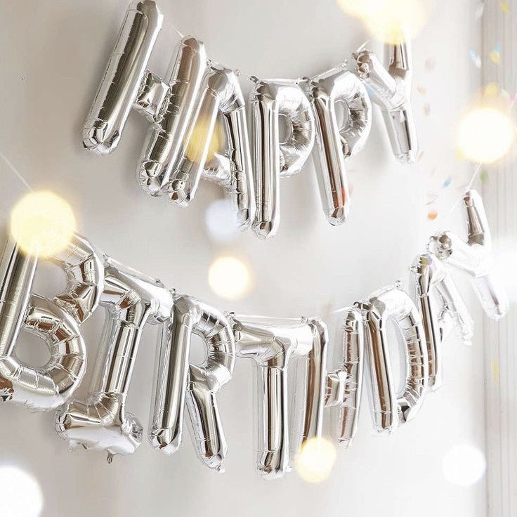 """Happy Birthday"" Balloon Banner - Silver Foil"