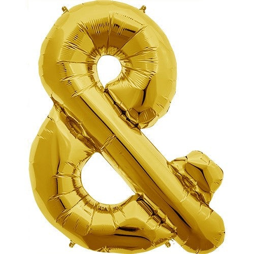 "Gold Foil Letter Balloon 34"" - & Ampersand"
