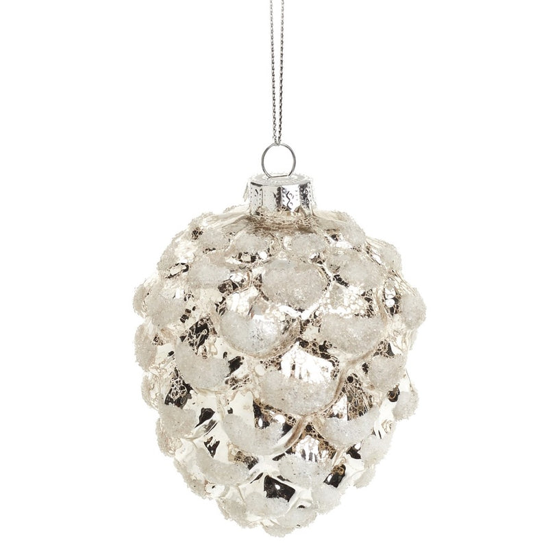 Frosted Champagne Gold Glass Pinecone Ornament