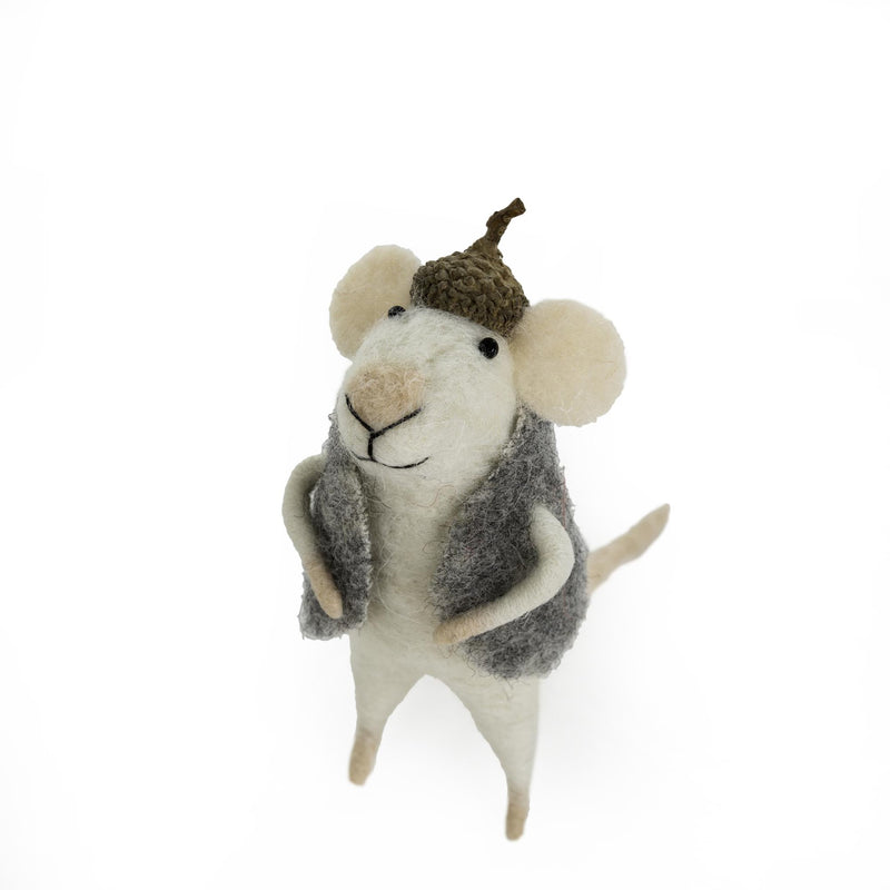 """Harry Squeaks"" Felted Mouse Ornament  - Putti Christmas Canada"