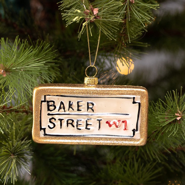 "London Street Sign ""Baker Street"" Glass Ornament 