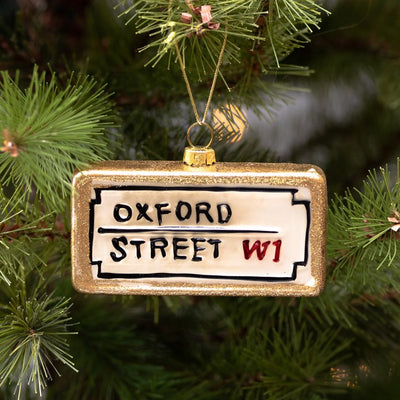 "London Street Sign ""Oxford Street"" Glass Ornament 