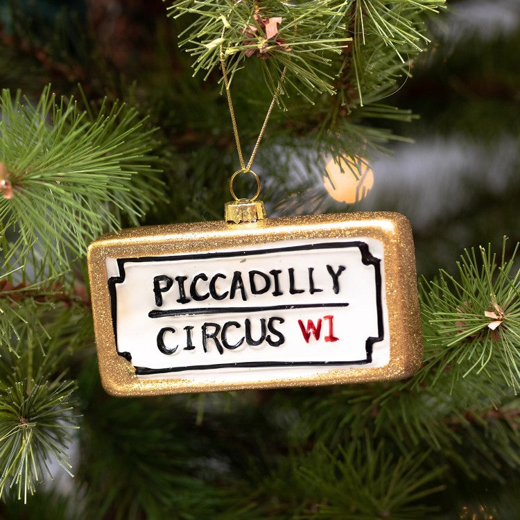 "London Street Sign ""Piccadilly Circus"" Glass Ornament 