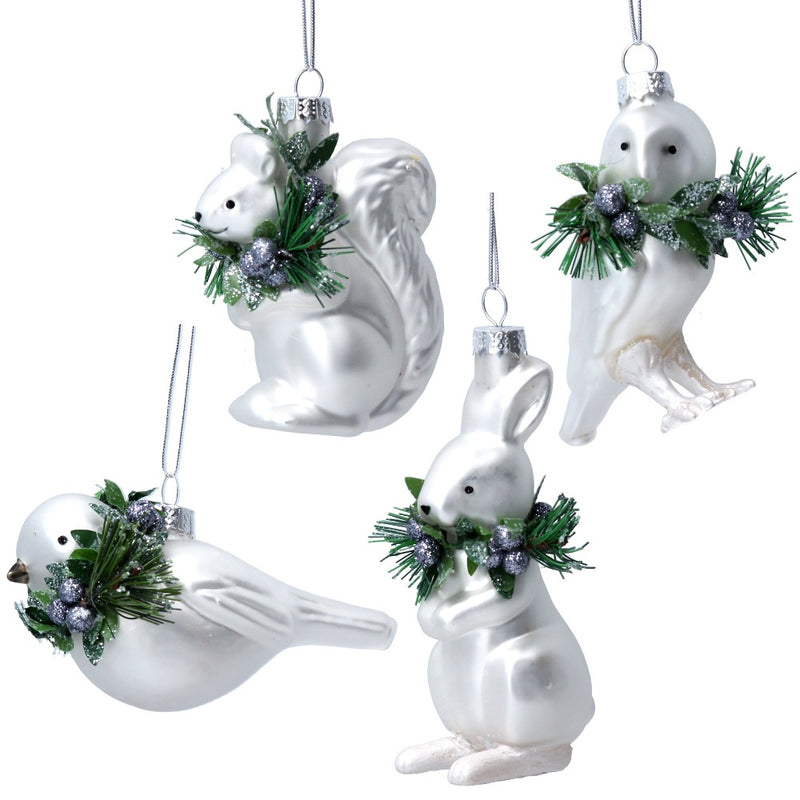 White Glass Squirrel with Fir and Berries Ornament