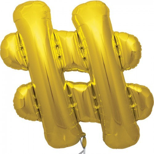 "Gold Foil Letter Balloon 34"" - # Hashtag, SE-Surprize Enterprize, Putti Fine Furnishings"