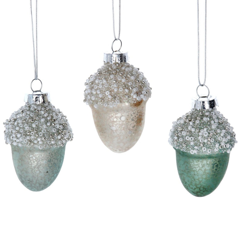 Silver Beaded Acorn Glass Ornament