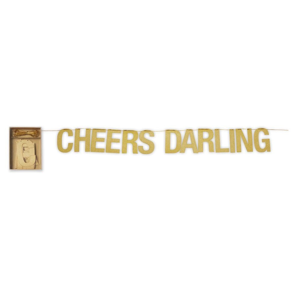 """Cheers Darling"" Gold Party Garland, CRG-CR Gibson, Putti Fine Furnishings"