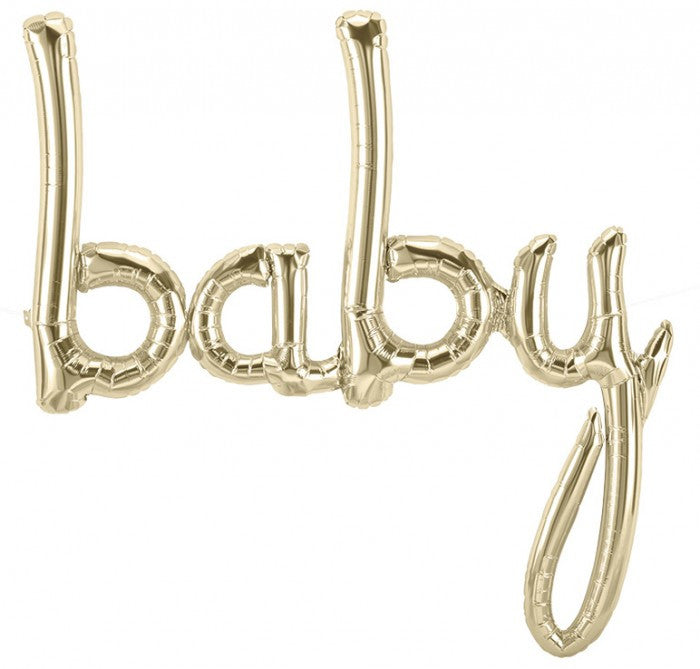 "White Gold Foil ""Baby"" Script Balloon, SE-Surprize Enterprize, Putti Fine Furnishings"
