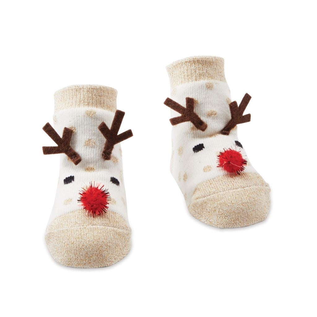 Mud Pie Reindeer Glitter Socks, MP-Mud Pie, Putti Fine Furnishings