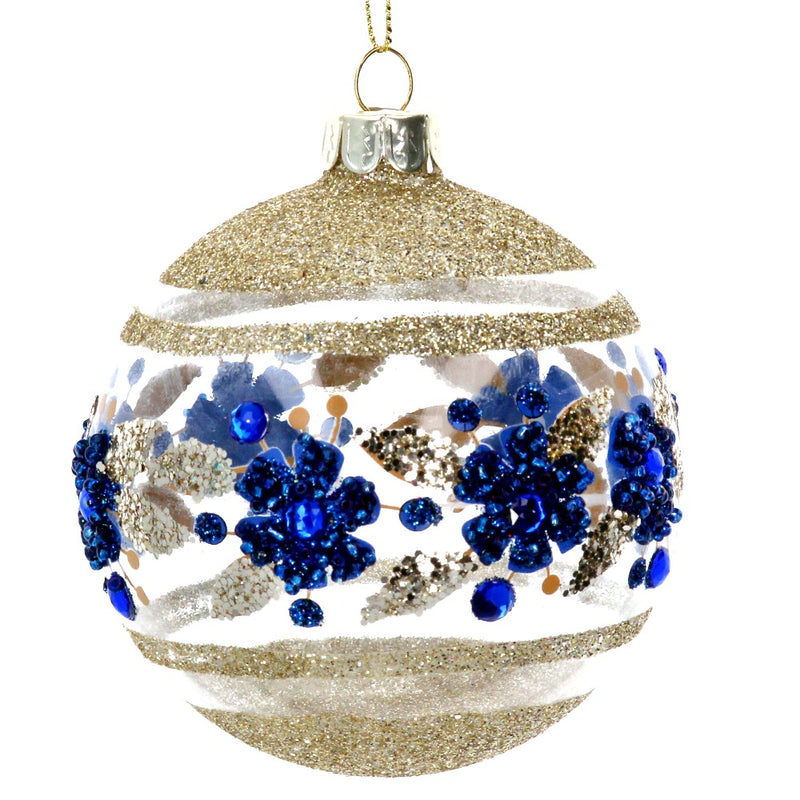 Gold with Blue Flower Glass Ball Ornament | Putti Christmas Canada