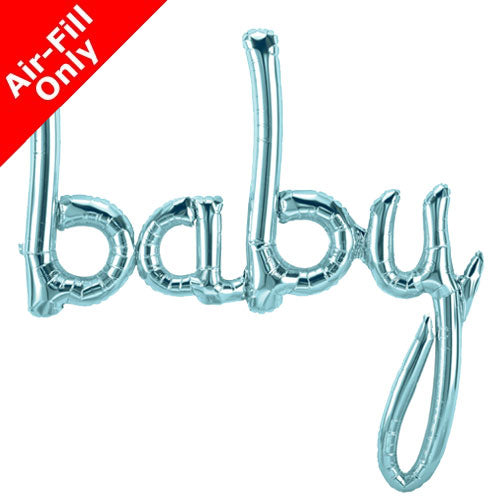 "Blue Foil ""Baby"" Script Balloon, SE-Surprize Enterprize, Putti Fine Furnishings"