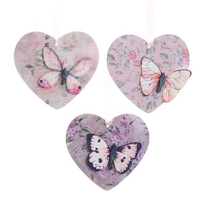 Blush Boho Chic Wooden Heart With Butterfly | Putti Christmas