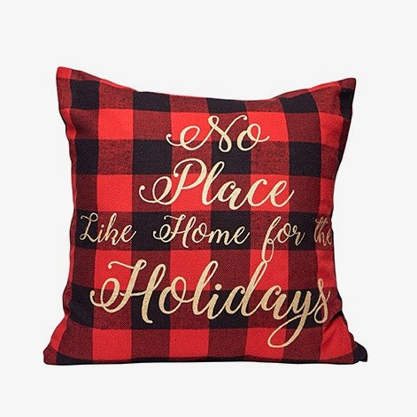 "Buffalo Check "" No place like home..."" Christmas Pillow"