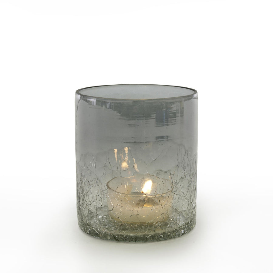 Crackle Tea Light Holder - Grey Ombre