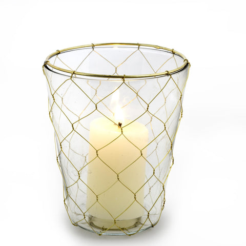 Gold Weave Votive Holder - Large-Candle Holders-IIT-Indaba Trading-Putti Fine Furnishings