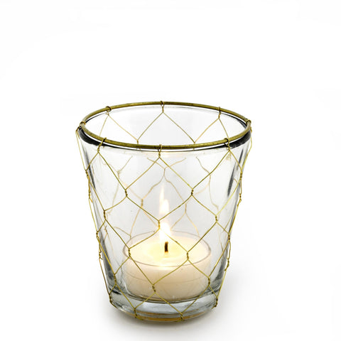 Gold Weave Votive Holder - Small-Candle Holders-IIT-Indaba Trading-Putti Fine Furnishings