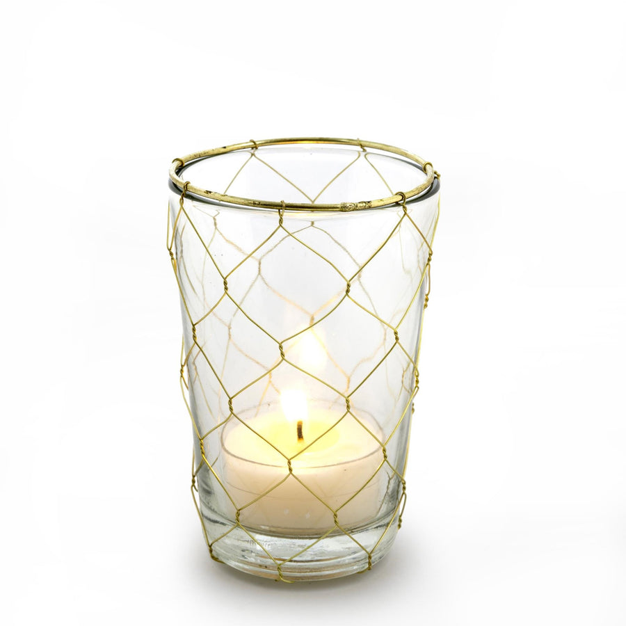 Gold Weave Votive Holder - Tall