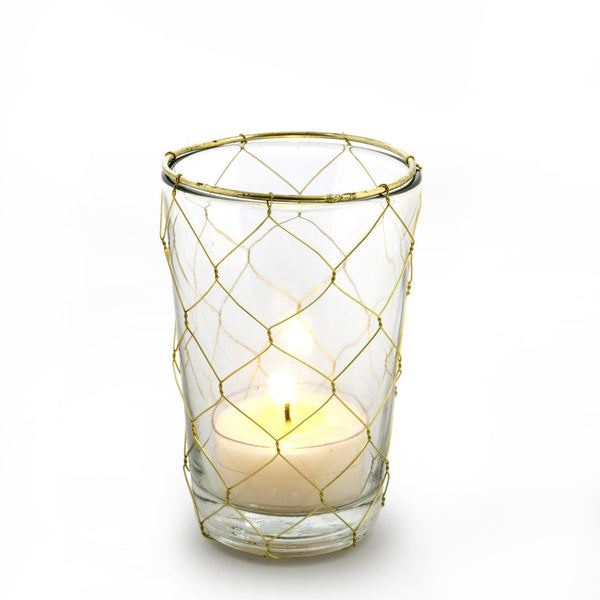 Gold Weave Votive Holder - Tall -  Candle Holders - Indaba Trading - Putti Fine Furnishings Toronto Canada