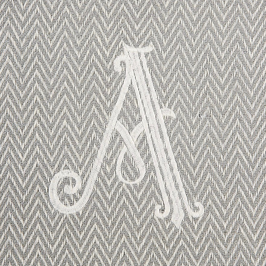 Monogrammed Herringbone Throw - Initial A, MP-Mud Pie, Putti Fine Furnishings