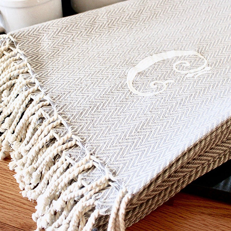 Monogrammed Herringbone Throw - Initial R, MP-Mud Pie, Putti Fine Furnishings