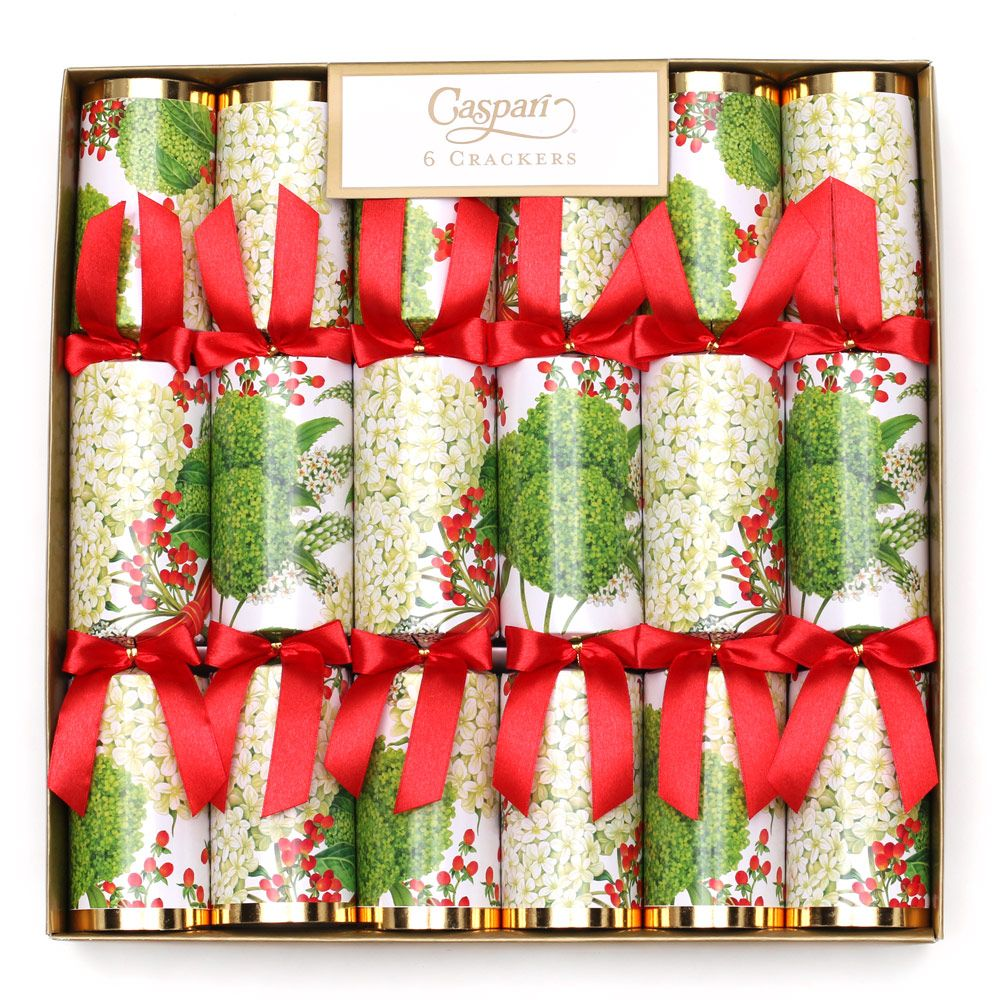 Caspari Snowball Hydrangea Christmas Crackers - Putti Fine Furnishings Canada